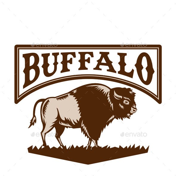 Buffalo American Bison Side Woodcut