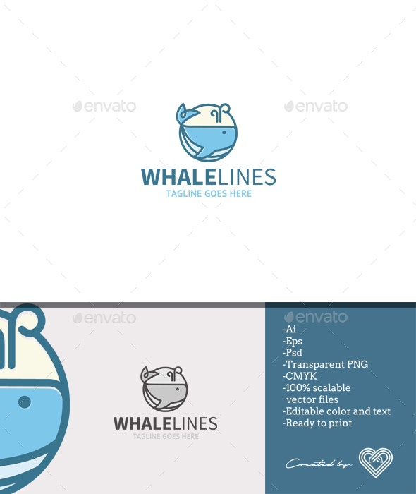 Whale Lines - Animals Logo Templates