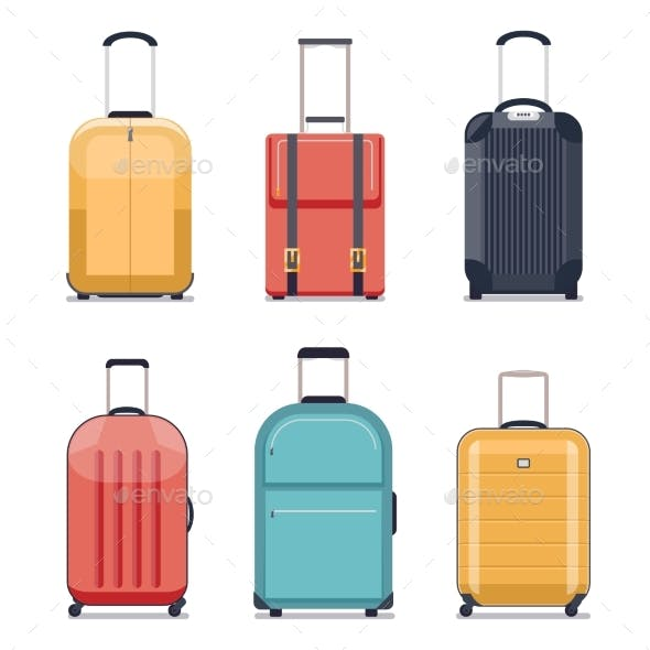 Travel Luggage Or Suitcase Icons Vector