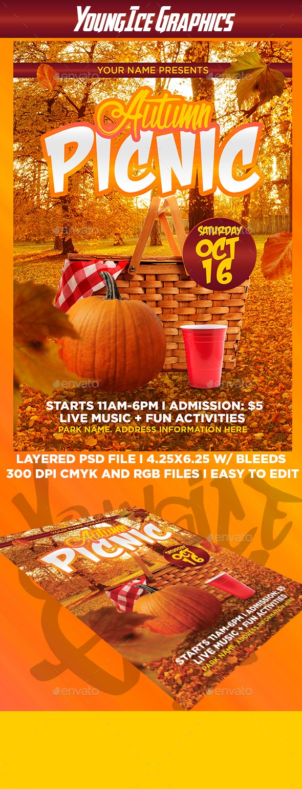 Autumn Picnic Flyer Template By Youngicegfx Graphicriver