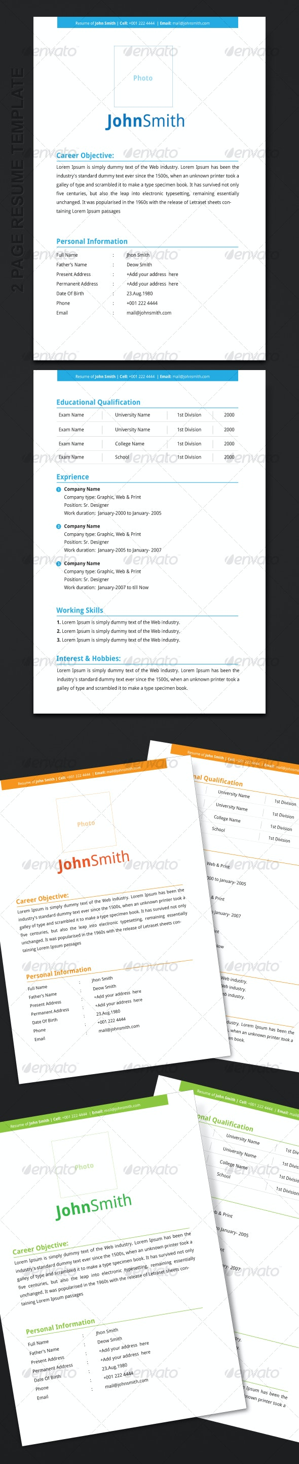 2 Page Resume Template - Resumes Stationery