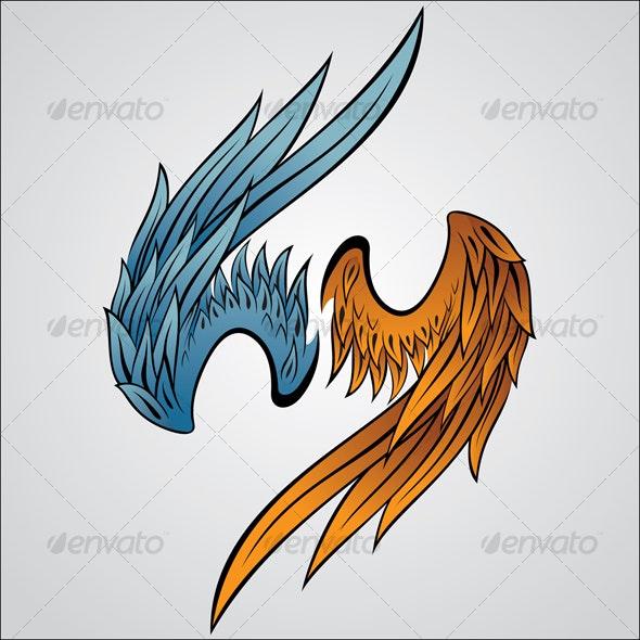 Wing Ornament 6 - Characters Vectors