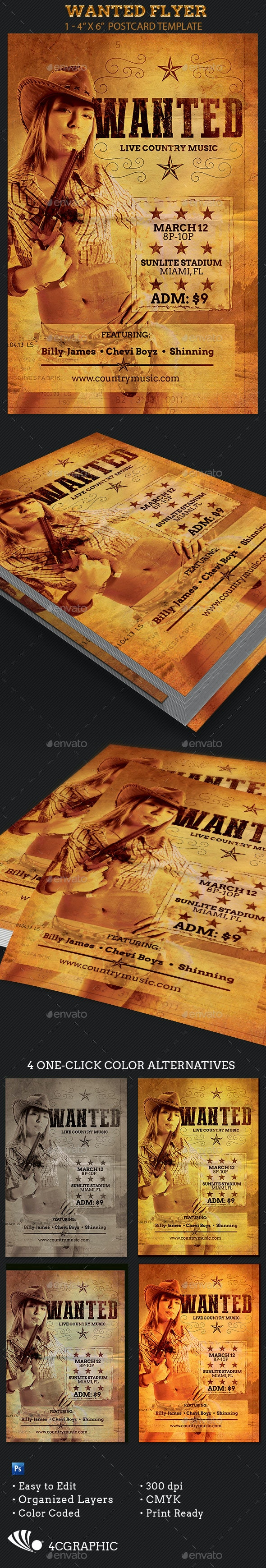 Wanted Flyer Template - Events Flyers