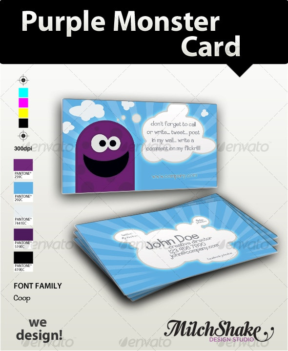Purple Monster Business Card - Creative Business Cards