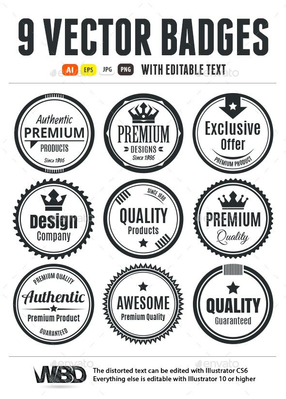Nine Scalable Vintage Badges - Badges & Stickers Web Elements