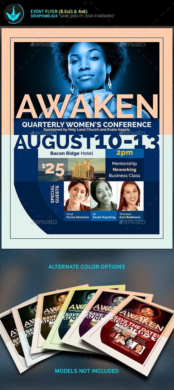 Awaken Women's Conference  Flyer Template - Church Flyers