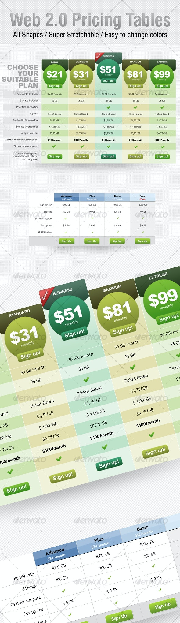 Web 2.0 Pricing Tables - Web Elements