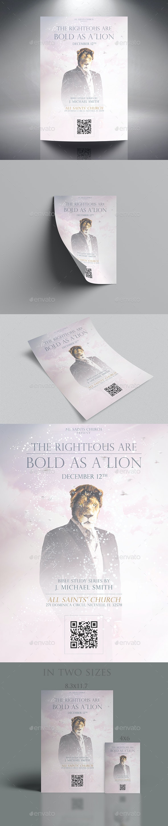 The Righteous Are Bold As A Lion - Church Flyers