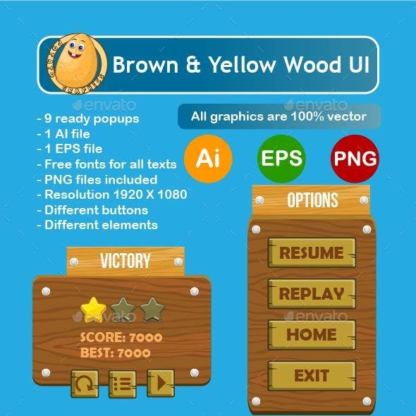 Brown and Yellow Wooden Complete Game GUI Set