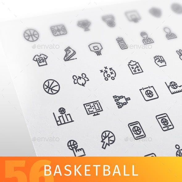 Basketball Line Icons Set
