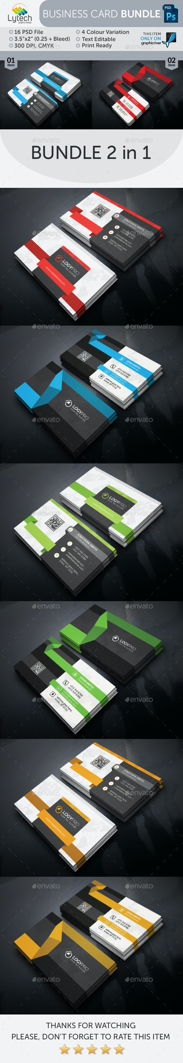 Corporate Business Card Bundle (2 in 1) - Business Cards Print Templates