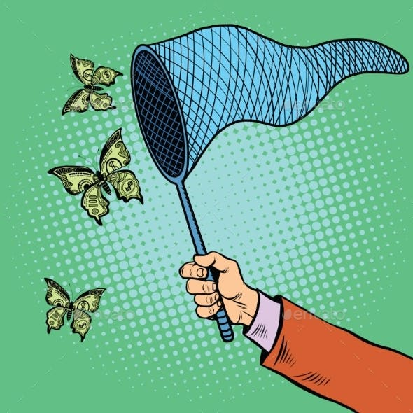 Businessman Catching Money With a Butterfly Net