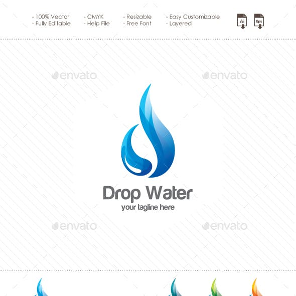Drop Water - Abstract Letter D Logo