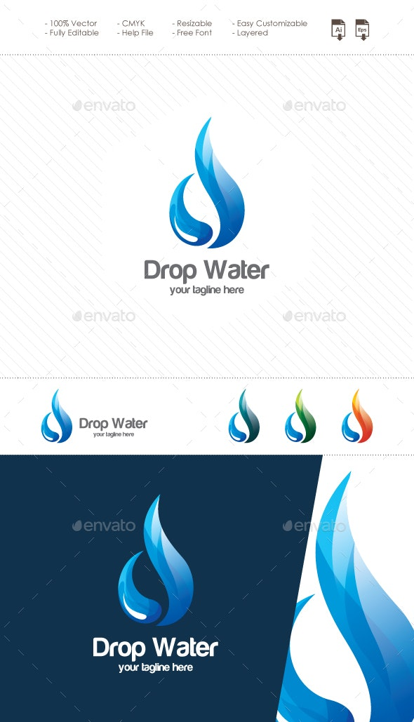 Drop Water - Abstract Letter D Logo - Letters Logo Templates