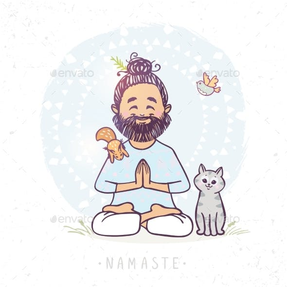 Yoga Man and Animals