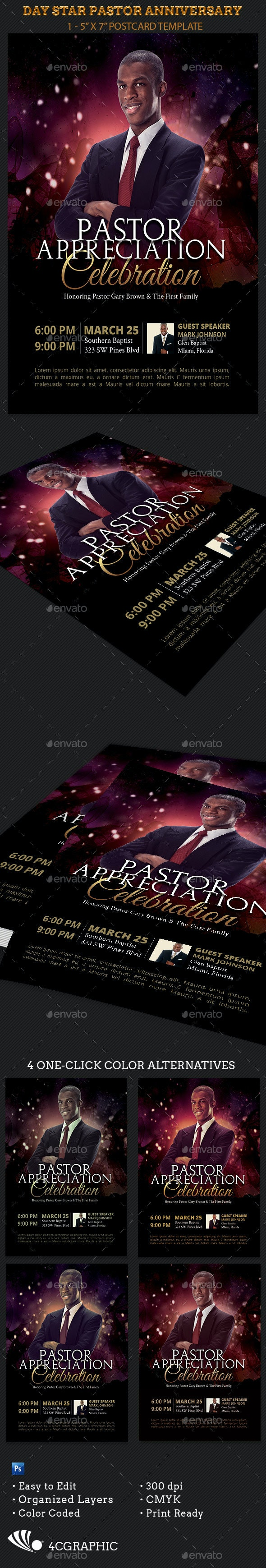 Day Star Pastor Anniversary Template - Flyers Print Templates