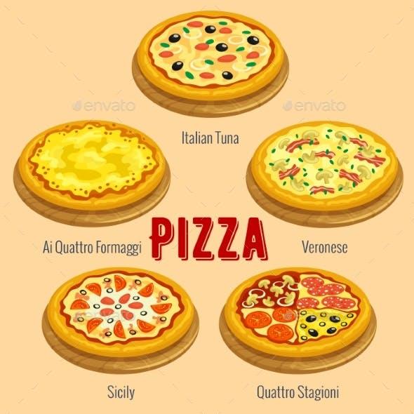 Pizza. Italian Cuisine Menu Card Placard