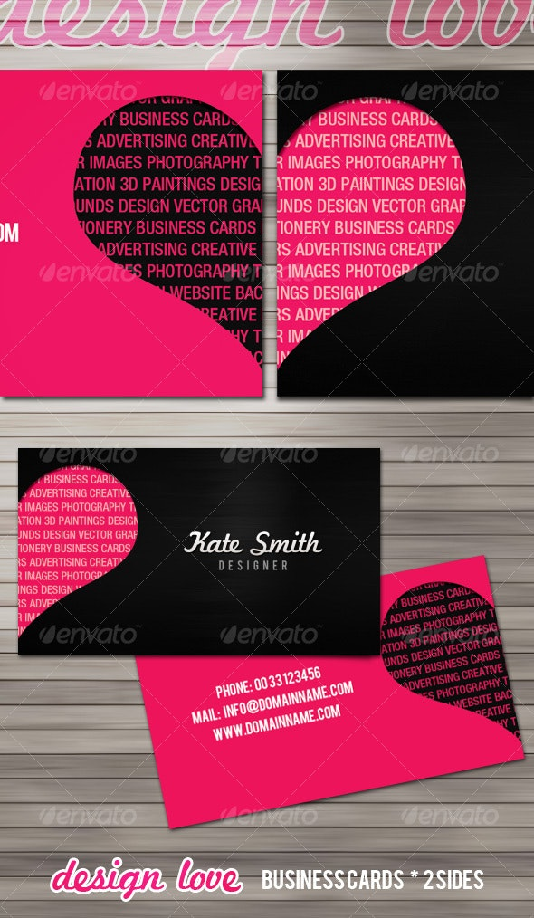 Design love business cards - 2 sides - Creative Business Cards