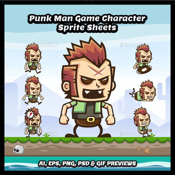 Punk Man Game Character Sprite Sheets