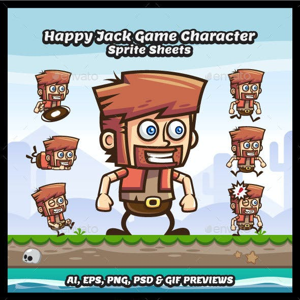 Happy Jack - Running and Jumping Game Character Sprite Sheets