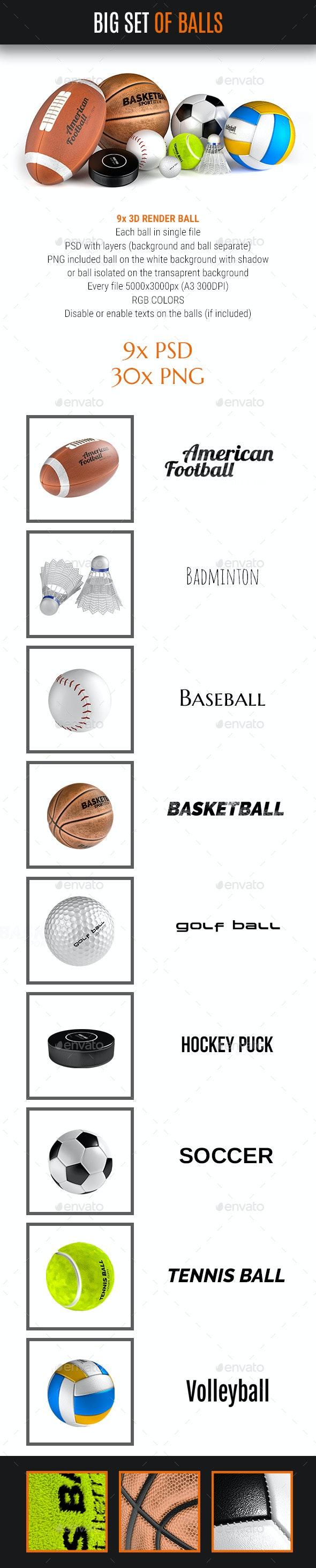 Big Balls Set 9x Sport Ball - Objects 3D Renders
