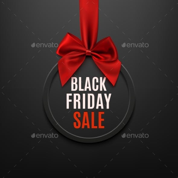 Black Friday Round Banner with Red Ribbon and Bow.