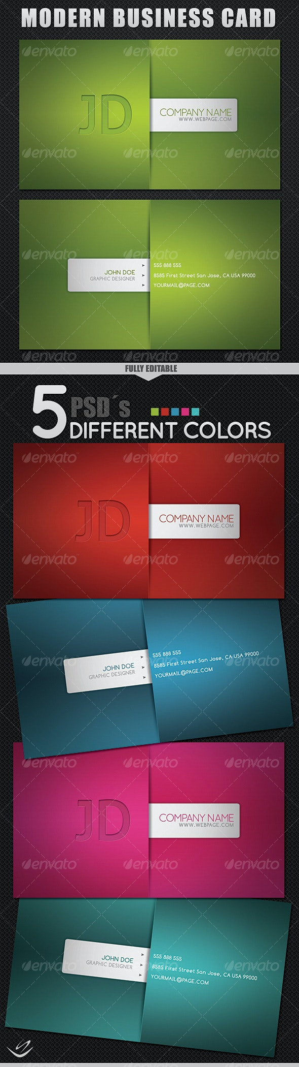 Modern Style Business Card - 5 Different Colors - Corporate Business Cards