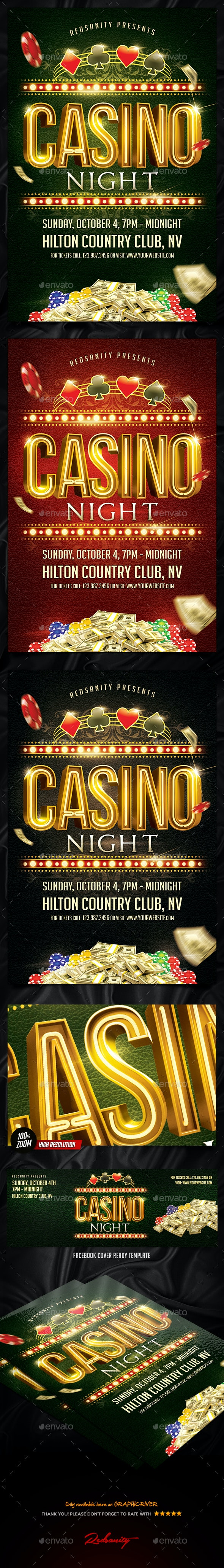 Casino Night Flyer Plus FB Cover - Events Flyers
