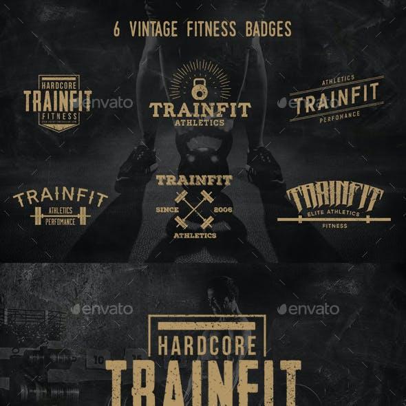 6 Vintage Fitness Badges