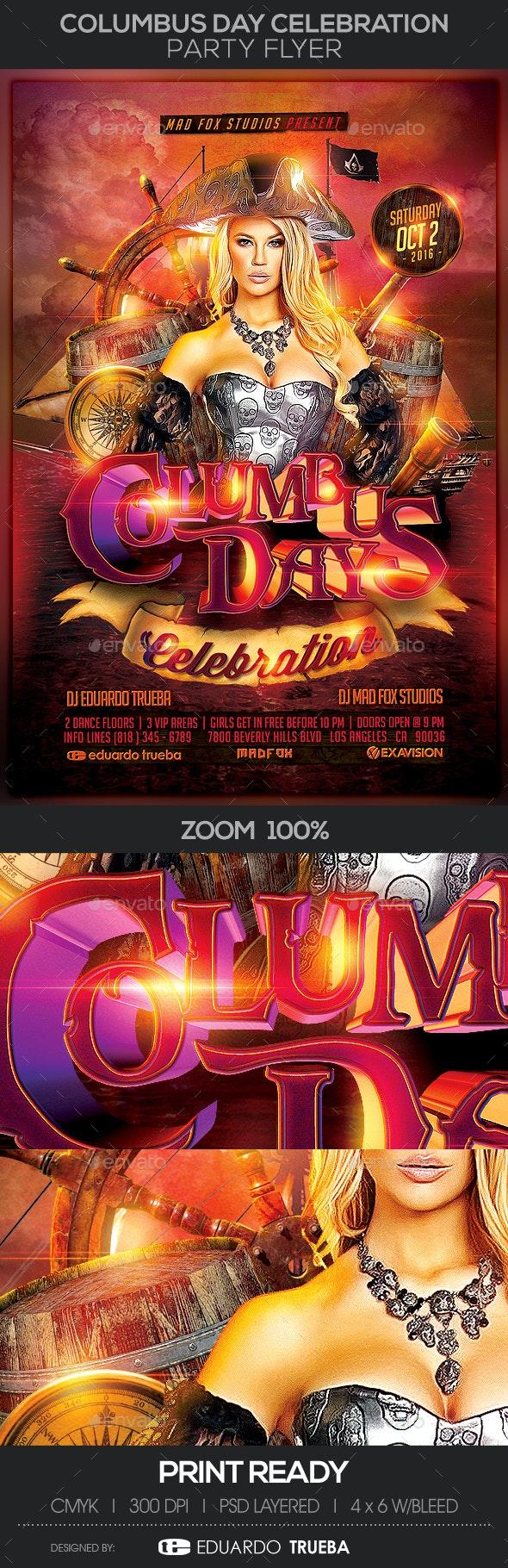 Columbus Day Celebration Party Flyer - Events Flyers