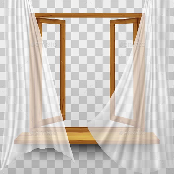 Wooden Window Frame with Curtains on Transparent Background