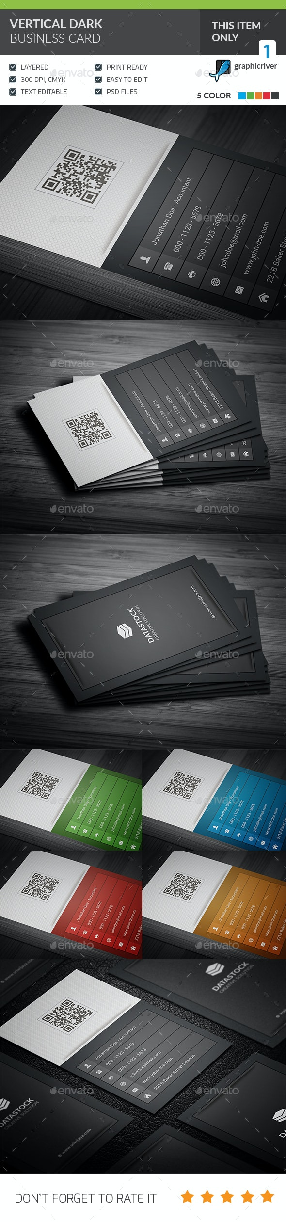 Vertical Dark Corporate Business Card - Corporate Business Cards