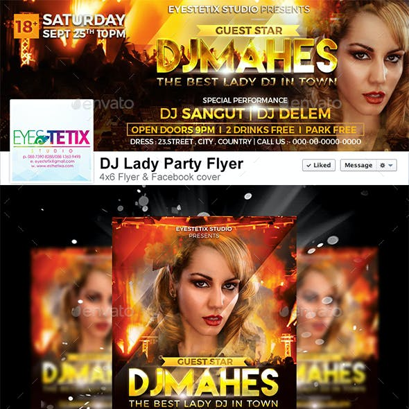 DJ Lady Party Flyer+Facebook Cover