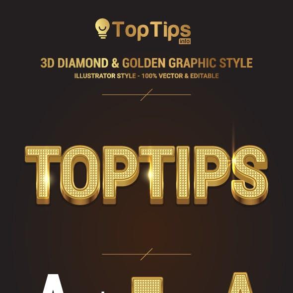 3D Diamond & Golden Graphic Style