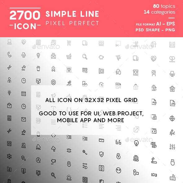 Simple Line Pixel Perfect Icons