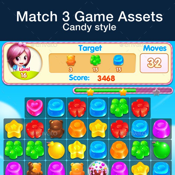 Match 3 Game Assets - Candy Style