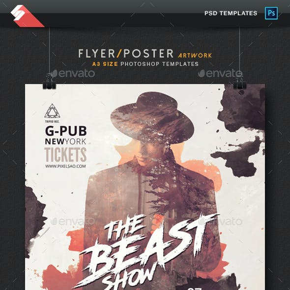 The Beast Show - Trap Party Flyer / Poster Template A3