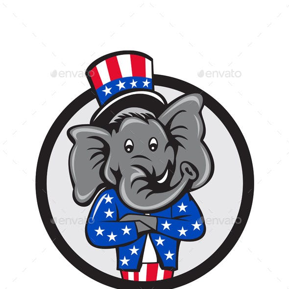 Republican Elephant Mascot Arms Crossed Circle Cartoon