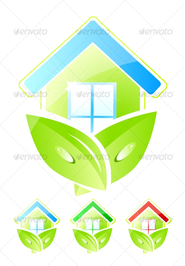 Green home icons - Nature Conceptual