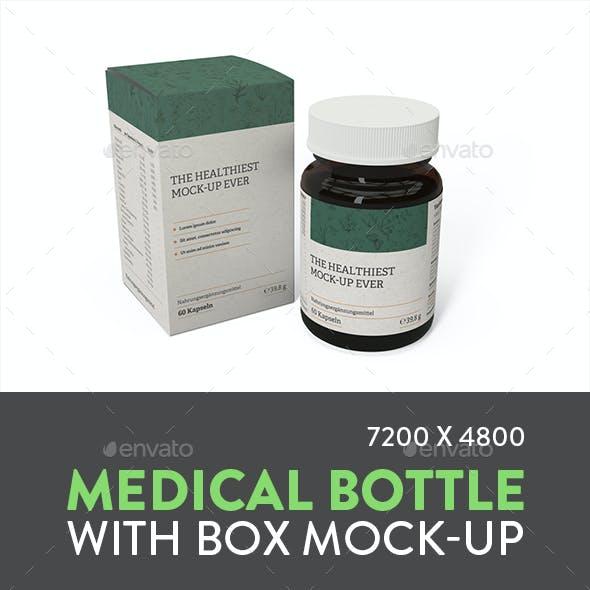 Medical Bottle with Box Mock-up