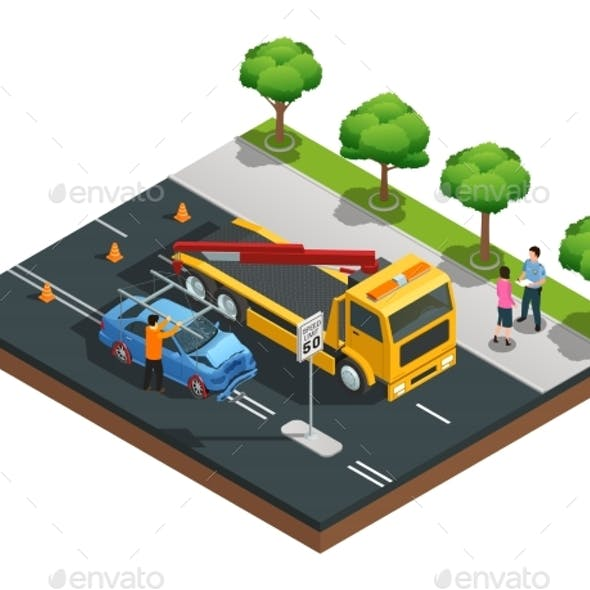 Car Accident Isometric Composition
