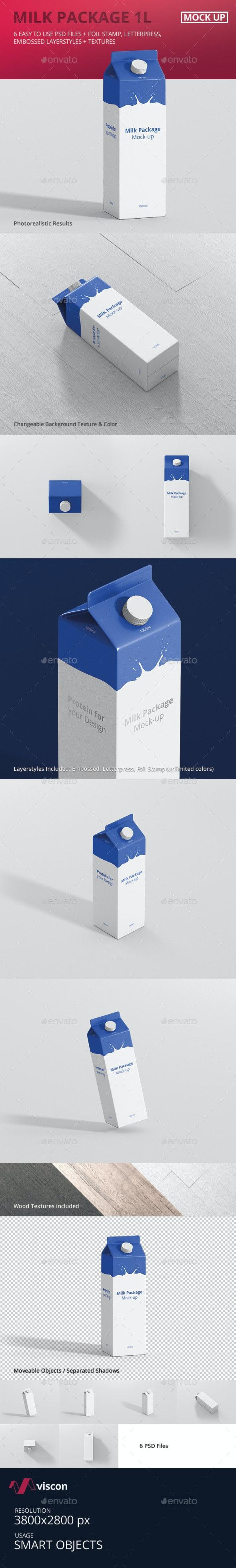 Juice / Milk Mockup - 1L Carton Box - Food and Drink Packaging