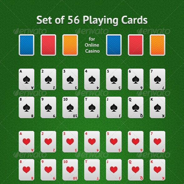 Set of 56 Playing Cards for Online Casino