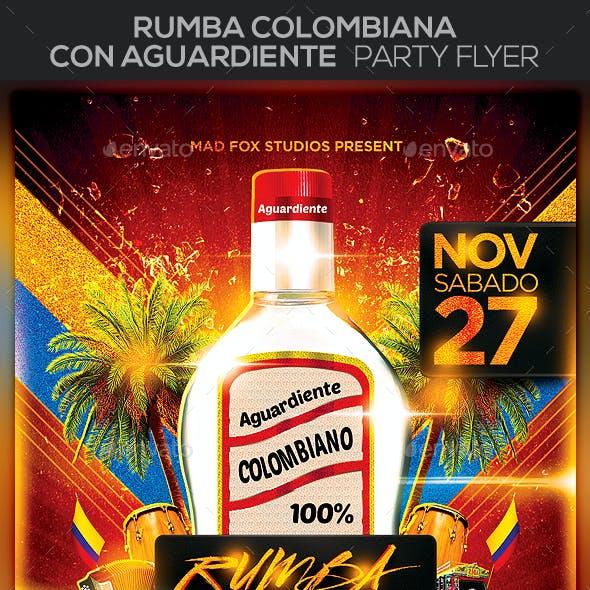 Rumba Colombiana con Aguardiente Party Flyer