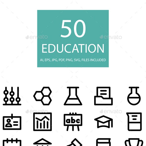 50 Education Line Icons