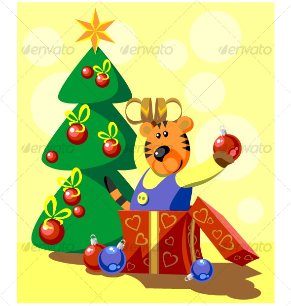 Tiger with gift in color 06 - Seasons/Holidays Conceptual
