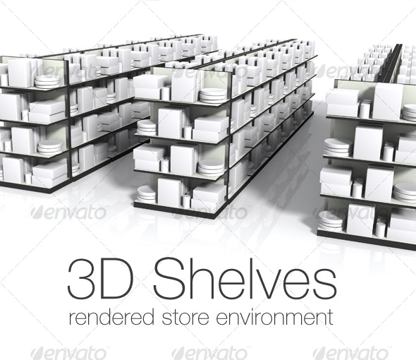 3D Store Environment - Three Shelves with Product - Objects 3D Renders