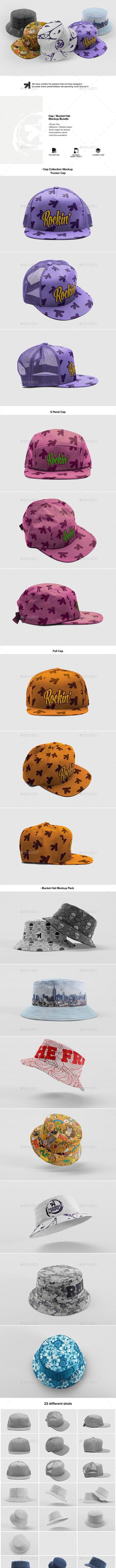 Cap Bucket Hat Mockup Bundle - Miscellaneous Apparel