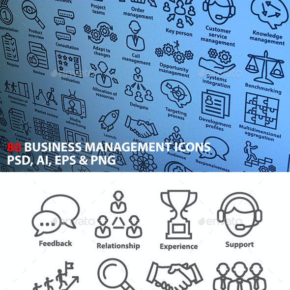 Business Management Icons in Line Style. Pack 1.