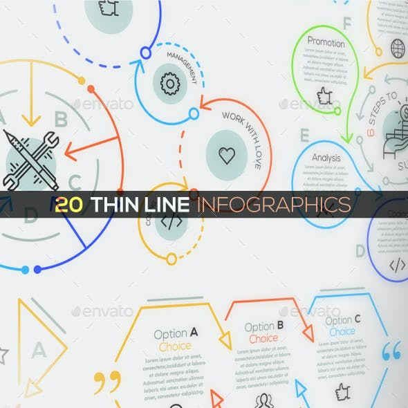 20 Thin Line Infographics